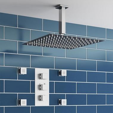 Louie Concealed Shower Valve, Fixed Shower Head & Body Jets